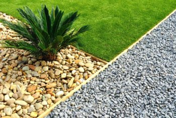 commercial yard landscaping rocks sod grass