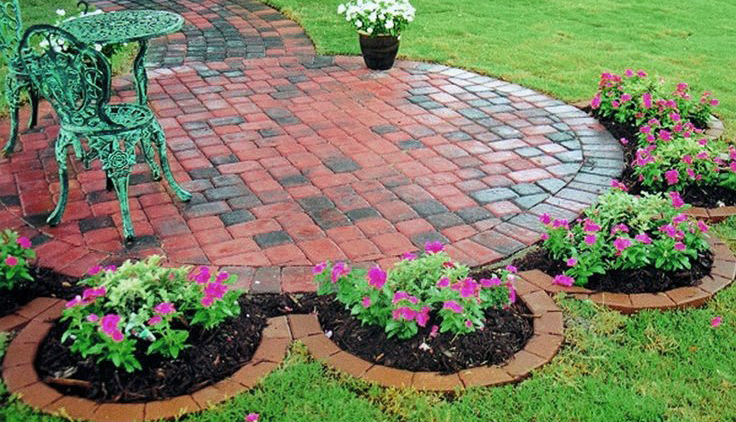 brick stepping stone walkway installation