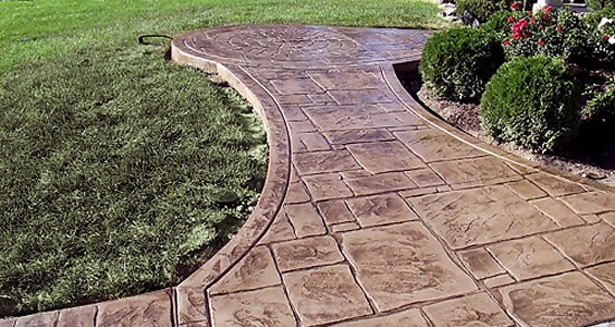 stamped concrete Stepping Stone Walkway