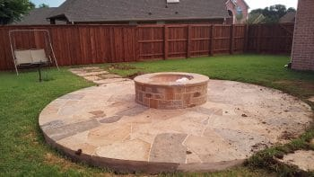 fire pit stone landscaping sitting area