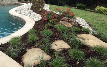 landscaping around pool rocks and stones