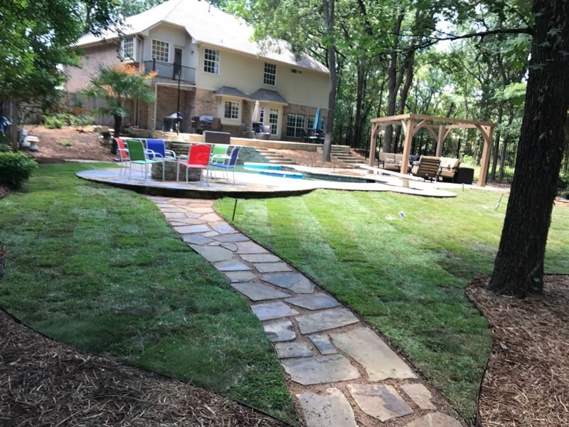 landscaping stone walkway backyard