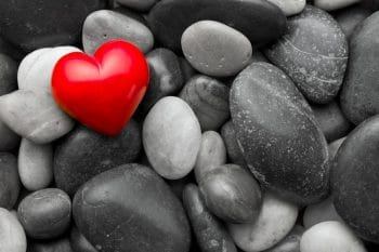 river rocks with heart